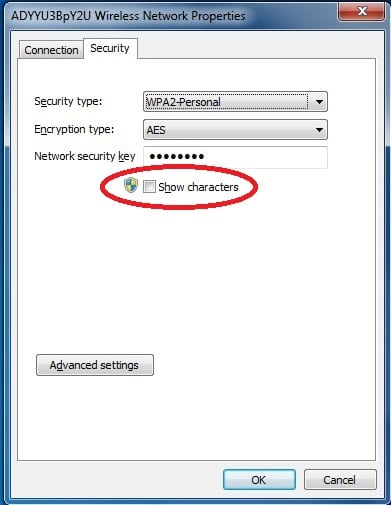wifi network show password click